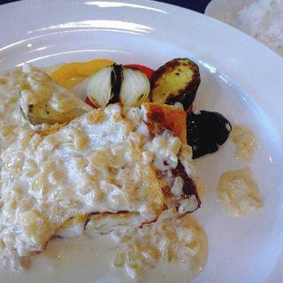 お勧めの魚or肉ランチ 平目のポワレ 貝のうまみクリーム(レストラン・ラグーン)