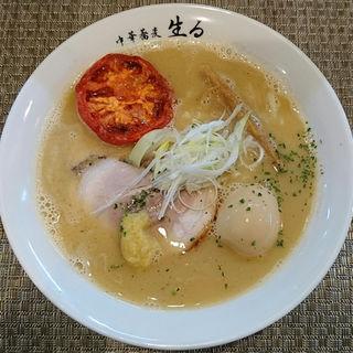 味玉濃厚塩中華そば+ローストトマト1/2個(らーめん用)(中華蕎麦 生る)