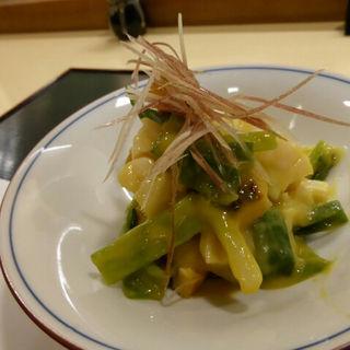 ホタテ貝柱焼きと、九条ネギの酢味噌和え(佳辰 (かしん))