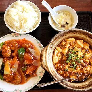 酢豚+麻婆豆腐の定食