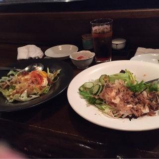 豆腐サラダと長芋のサラダ(波瀾万丈)