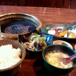 リブロースステーキセット ライス大盛り(焼き肉こさる 三木山店 )