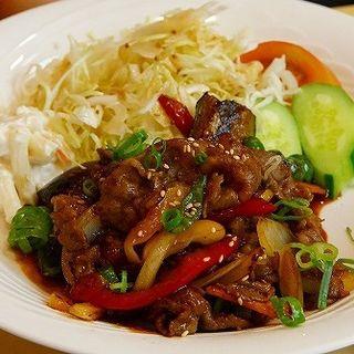 千屋牛と野菜の味噌ダレ炒め定食(焼肉レストラン あしん )
