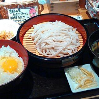 きのこつけ汁うどん550円+玉子かけご飯セット200円