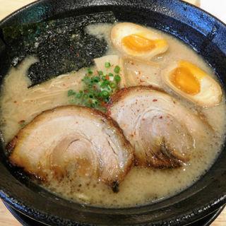 豚骨ラーメン+煮玉子(福島壱麺 (イチメン))