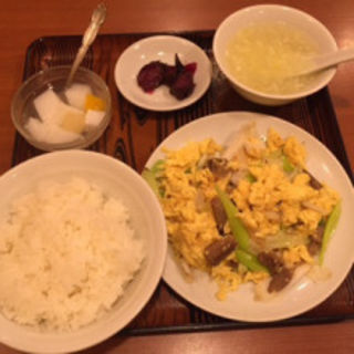 長葱玉子と叉焼炒め(美山飯店)