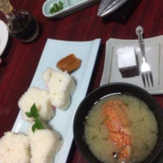 伊勢エビの殻で出汁を取ったお味噌汁に一口ケーキ(藍風亭 )