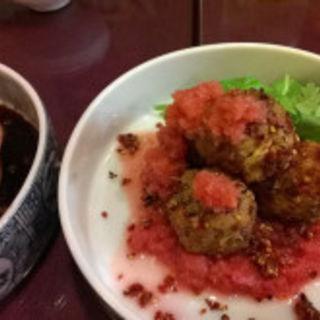 肉団子炭焼き紅芯大根とフルーツトマト(酒中花 空心  (シュチュウカ クウシン))
