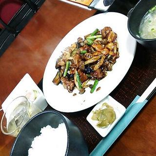 鶏と秋茄子のオイスターソース炒め定食(醤 (JIANG))