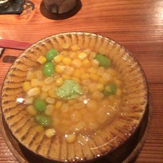 とうもろこしと枝豆の茶碗蒸し(食堂えぶりお )
