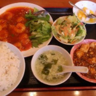 海老チリソース定食