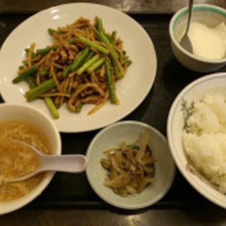 ニンニク芽豚肉炒め定食(馬虎記)