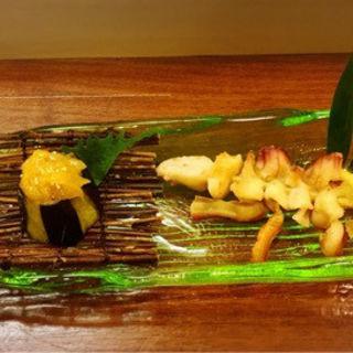 茄子柚子味噌とホッキ貝ヒモ炙り