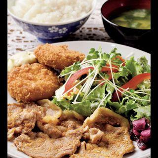 生姜焼&カニクリーム定食(フィレンツェ )