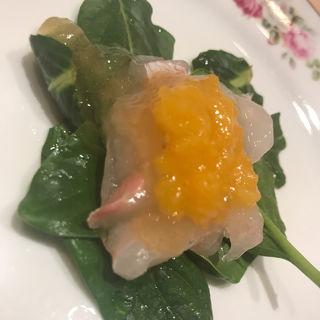 煎り酒ヒラメトマト餡(鮨 紺乃)
