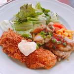 白身魚のフライ&照り焼きチキンランチ