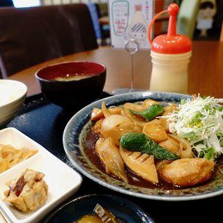 海老と野菜の甘酢あんかけ定食(マヨネーズ本舗)