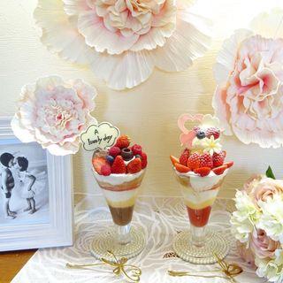 チョコレートと苺のパフェ