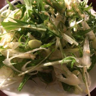 青唐辛子と水菜とネギのサラダ(牛角 三軒茶屋店 (ギュウカク))