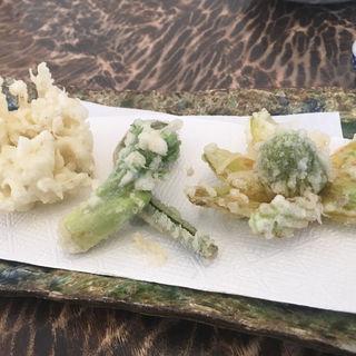 白魚のかき揚げと山菜の天ぷらセイロ(手打ち蕎麦 こはし )