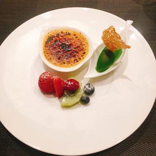 クレームブリュレと抹茶アイス(銀座 響 boeuf)