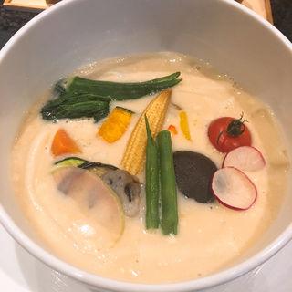 温野菜のクリームソース(五代目 花山うどん)