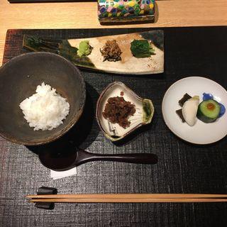 和牛佃煮と御飯 「新潟県雪椿」お茶漬け変化 (おにく花柳)