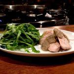 豚肉のグリル 新ごぼうのソース サラダ春菊のサラダ添え
