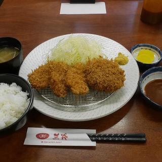メンチカツと一口ヒレとんかつ定食(とんかつ 三谷 )
