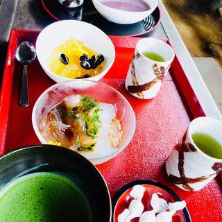抹茶、心太、柚子寒天、冷汁粉(弁天堂茶屋)
