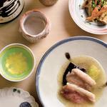 彩りキノコのサンチョビ炒め、茄子と鴨の揚げ出汁、英君 特別純米ひやおろし