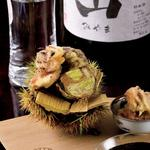 あんきもの味噌漬け栗、いちぢくの天ぷら、深山特別純米 瓶囲い(あそび割烹 さん葉か (サンバカ))