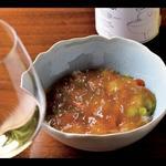海老と野菜のマリネ、人参ムースとコンソメジュレ