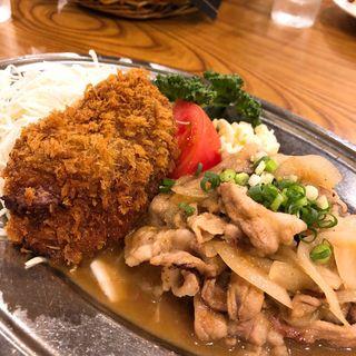 生姜焼きとメンチカツ定食(洋食大吉)