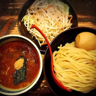 野菜盛りと半熟玉子つけ麺(三田製麺所恵比寿南店)
