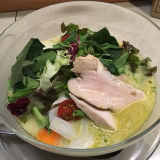十六野菜の春のベジ味噌+蒸し鶏(みつか坊主 醸 (カモシ))
