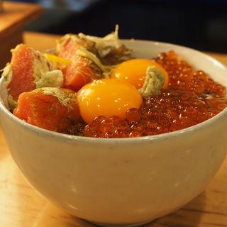 卵かけご飯「3.5」(泳ぎいか・ふぐ・いわし・大阪懐石料理・遊食遊膳 笹庵 (ささあん))