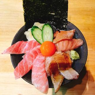 大トロと大トロ炙り二色丼(築地虎杖 魚河岸千両 (うおがしせんりょう))