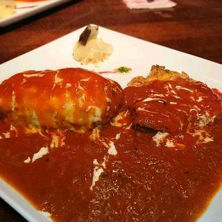 ホットチリハンバーグ+ハーフサイズホットチリチキン(キッチン ハセガワ (Kitchen Hasegawa))