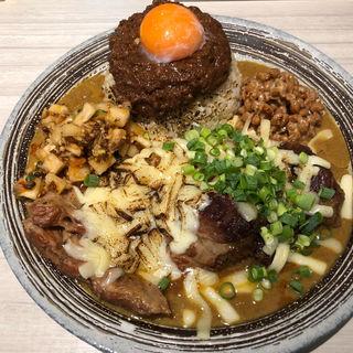 甘辛ミックス、ご飯小、キーマ、アチャール、チーズ、納豆(吉田カレー  )