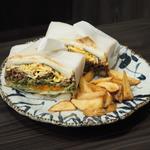 山口県瓦そばのサンドイッチ