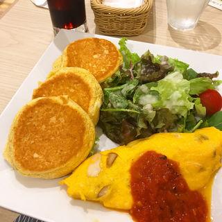 パンケーキ&きのこチーズオムレツ(幸せのパンケーキ 横浜中華街店)