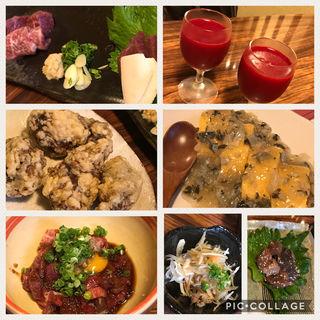 馬刺し、桜ユッケ、鼈唐揚げ、鼈肝、生血、鼈卵焼