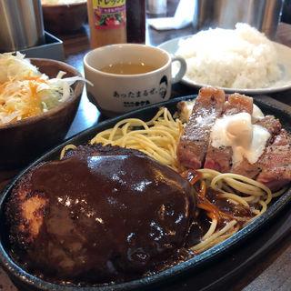 ステーキ&ハンバーグ コンビ(1ポンドのステーキハンバーグタケル 日本橋オタロード店 )