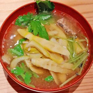 筍とさば缶味噌汁(戸隠 つきや)
