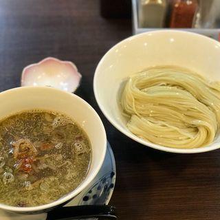 醤油つけ麺 (手揉み潰し麺仕様) 特製トッピング(らぁ麺 紫陽花 (ラアメン アジサイ))