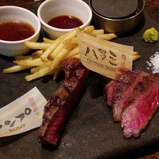 阿波黒牛ステーキと熟成肉ステーキの食べ比べ(STERK THE FIRST 北新地店)