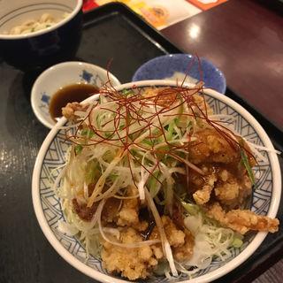 たっぷりねぎの山賊丼セット(大判唐揚げ 4 個)(夢庵 小平店 )