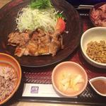 もろみチキン炭火焼定食(五穀ご飯小盛り)+おぼろ豆腐+納豆