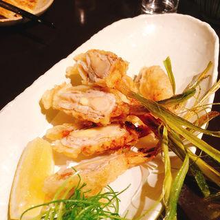 肉みそ巻天ぷら(玉椿 (たまつばき))